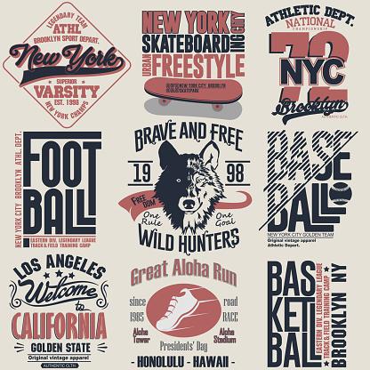 T-shirt stamp graphic set. Sport wear typography emblem