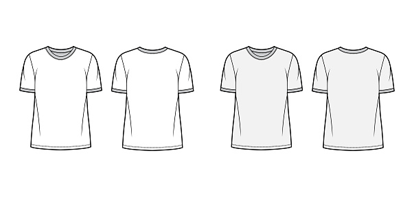 T-shirt technical fashion illustration with crew neck, fitted oversized body short sleeves, flat
