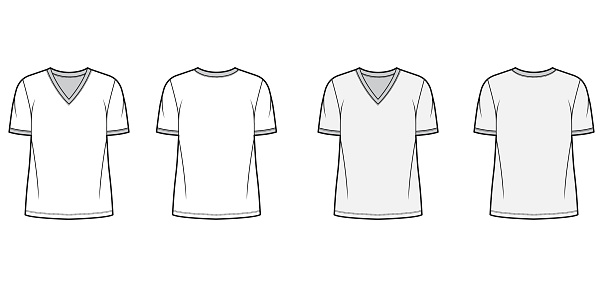 T-shirt technical fashion illustration with V neck, fitted oversized body short sleeves, flat