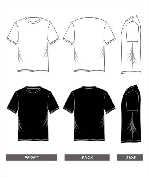 t シャツ テンプレート ブラック ホワイト - tシャツ点のイラスト素材/クリップアート素材/マンガ素材/アイコン素材