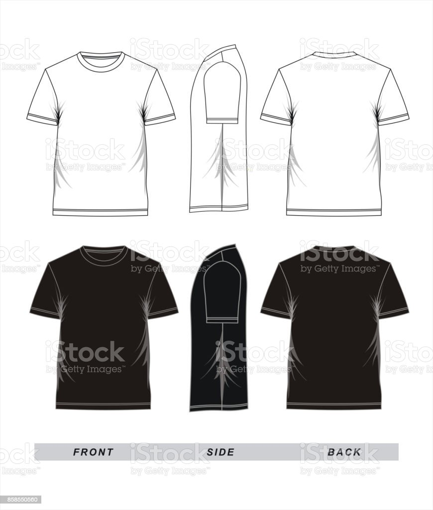 Tshirt Template Black White Stock Vector Art More Images Of Adult