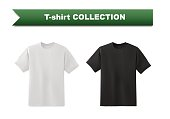 White and black T-shirt template collection isolated on white background, vector eps10 illustration.