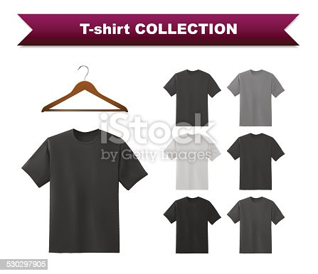 White,grey and black t-shirts isolated on white background, vector eps10 illustration.