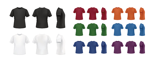 T-shirt template colorful set, front, back and side views.
