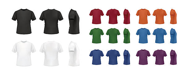 T-shirt template colorful set, front, back and side views. T-shirt template colorful collection isolated on white background, vector eps10 illustration. Front view, back view and side view of t-shirt. back stock illustrations