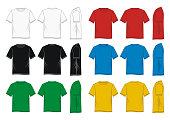 T-Shirt template front, back, side, colorful vector image
