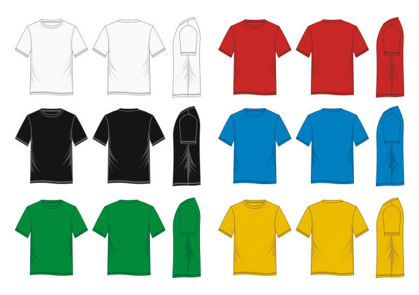 stockillustraties, clipart, cartoons en iconen met t-shirt sjabloon kleurrijke - hemden en shirts