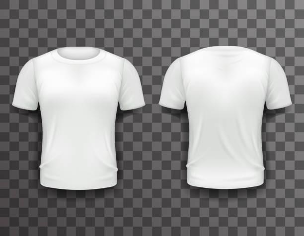 T-shirt Template Front Back Realistic 3d Design Icon Transparent - ilustración de arte vectorial