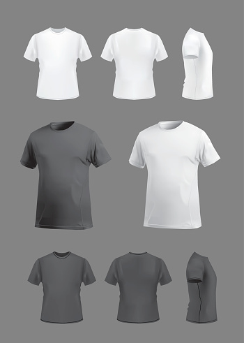 T-shirt template mockup set, front, back, side and perspective views.