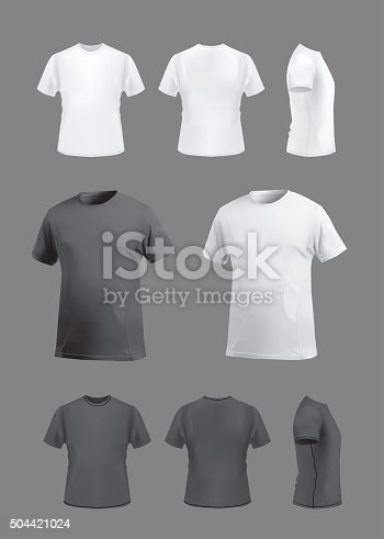 T-shirt template set on grey background, vector eps10 illustration. Front view, back view and side and perspective view of t-shirt.