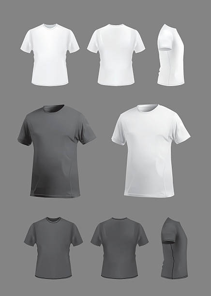 T-shirt template mockup set, front, back, side and perspective views. T-shirt template set on grey background, vector eps10 illustration. Front view, back view and side and perspective view of t-shirt. t shirt stock illustrations