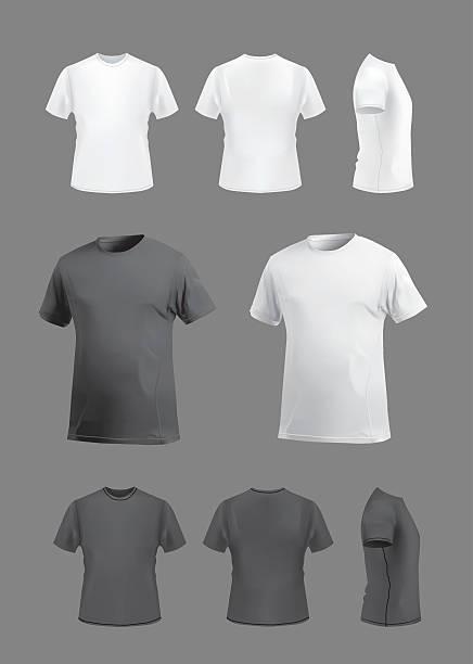 stockillustraties, clipart, cartoons en iconen met t-shirt template mockup set, front, back, side and perspective views. - t shirt
