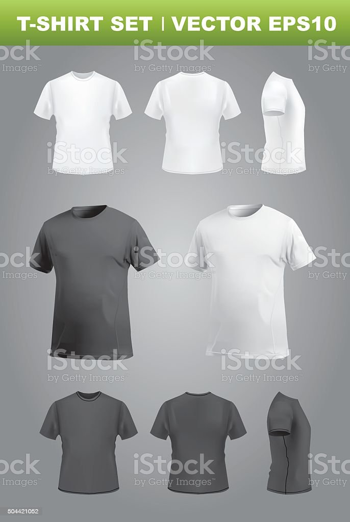 T Shirt Template Mockup Set Front Back Side And Perspective Views