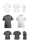 T-shirt template set isolated on white background, vector eps10 illustration. Front view, back view and side and perspective view of t-shirt.