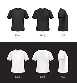 T-shirt template set on black and white backgrounds, vector eps10 illustration. Front view, back view and side view of black and white t-shirts.