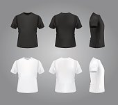 T-shirt template set on grey gradient background, vector eps10 illustration. Front view, back view and side view of t-shirt.