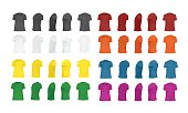 T-shirt template set of different colors, black, white, red, green, blue, orange, yellow, purple, blank shirts front, side, perspective, rear views, different angles, vector eps10 illustration isolated on white background