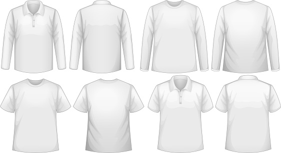 T-shirt template with long and short sleeves