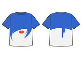 T-shirt template with print design of blue hair woman silhouette with red lips. Vector illustration
