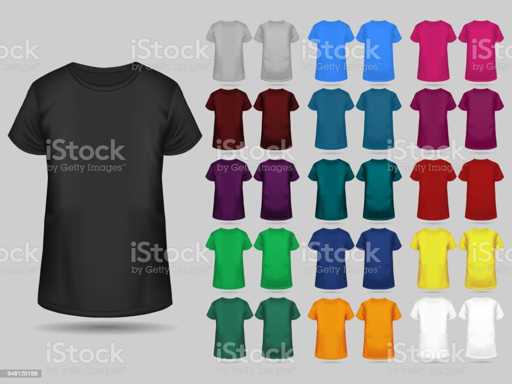 Tshirt Templates Collection Of Different Colors Stock Vector Art ...