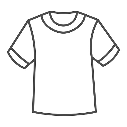 T-shirt thin line icon, Summer clothes concept, unisex shirt sign on white background, casual t-shirt icon in outline style for mobile concept and web design. Vector graphics.