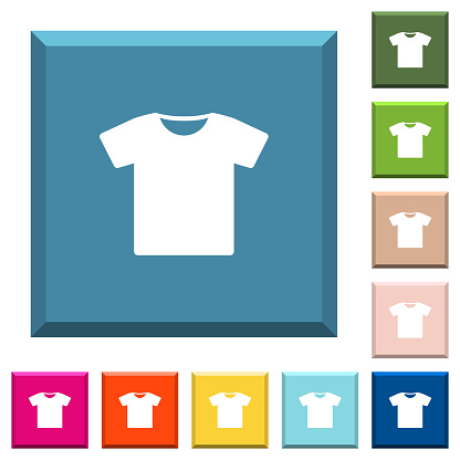 T-shirt white icons on edged square buttons