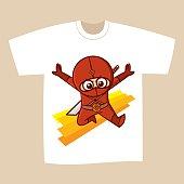 T-shirt White Print Design Superhero Ninja