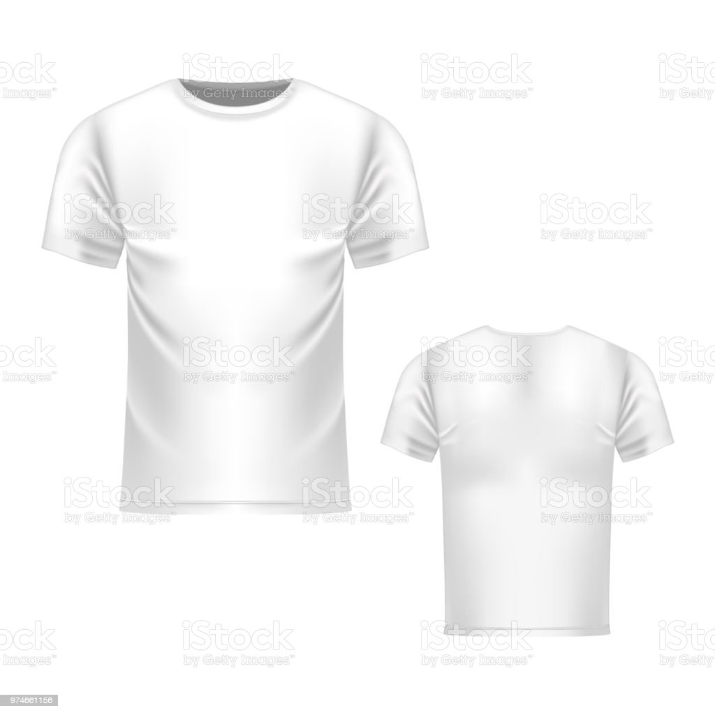 Tshirt White Template Front And Back View Vector Realistic Mock Up