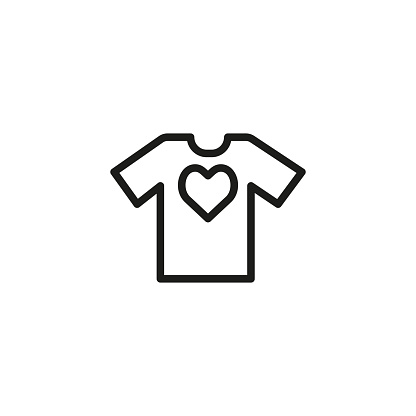 Tshirt with heart line icon