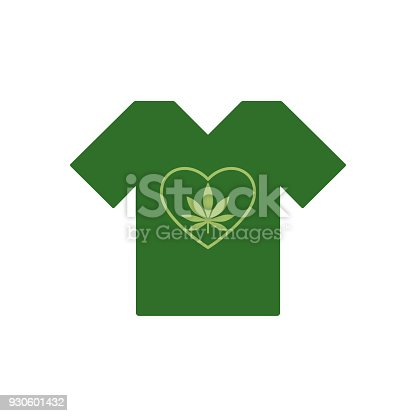 Tshirt With Heart Symbol And Cannabis Leaf Inside Marijuana Heart