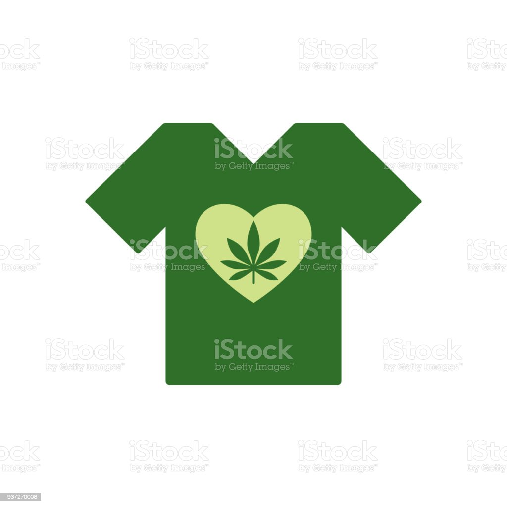 T-shirt with Heart symbol and cannabis leaf inside. Marijuana Heart. Tee shirt template. vector art illustration