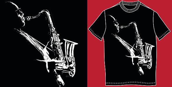 T-shirt with saxophonist