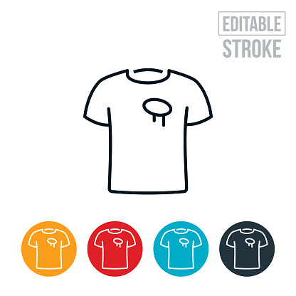 T-Shirt With Stain Thin Line Icon - Editable Stroke