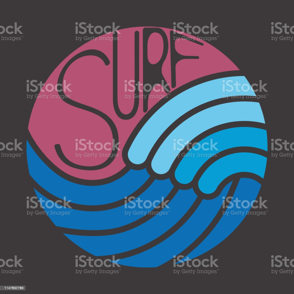 Beach Theme Card Stock: Tshirt With Surf Theme Summer Theme Emblem And Print For