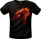 T-shirts with emblem of celtic wolf.  EPS 10 with transparency and effects of blending colors.