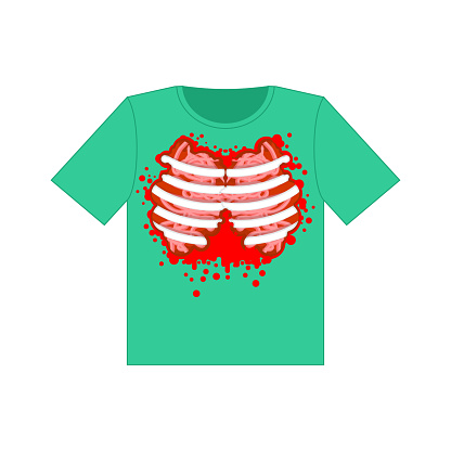 T-shirt zombie body. Ribs and blood. vector illustration