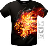 T-shirt with fire lion print. Editable EPS 10.