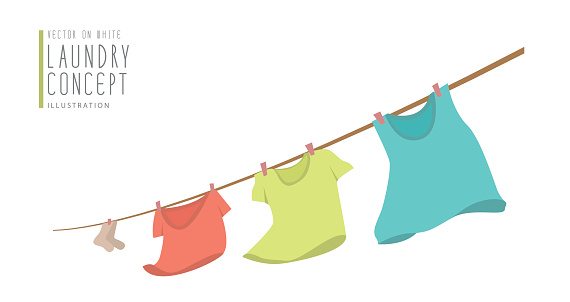 T-shirts hanging on a clothesline.on windy day flat vector.