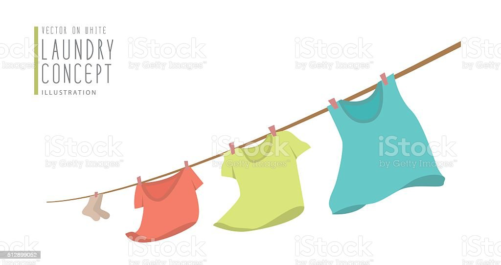 T-shirts hanging on a clothesline.on windy day flat vector. vector art illustration