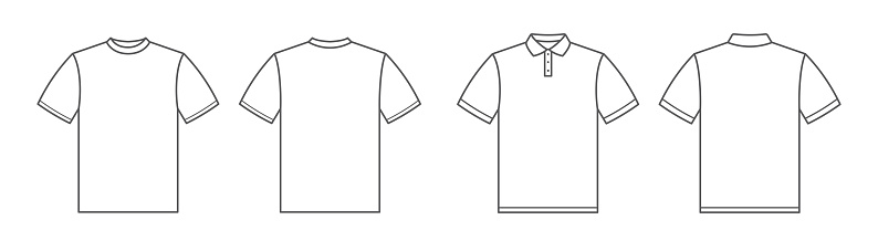 T-shirts. Polo shirt. Tshirt front and back view. Outline style - stock vector.