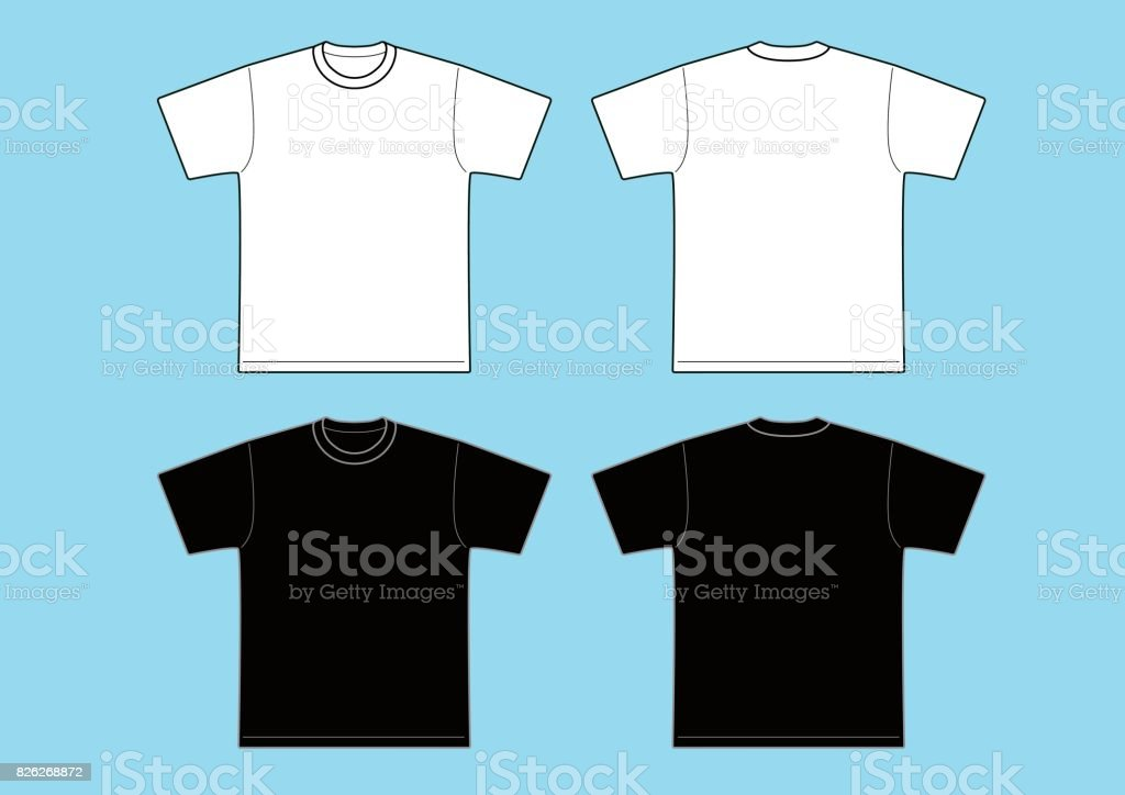 T-shirts Template - black & white vector art illustration