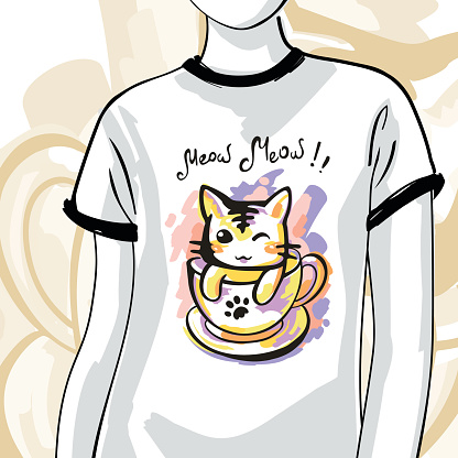 T-shirts with ink cat, fashion illustration