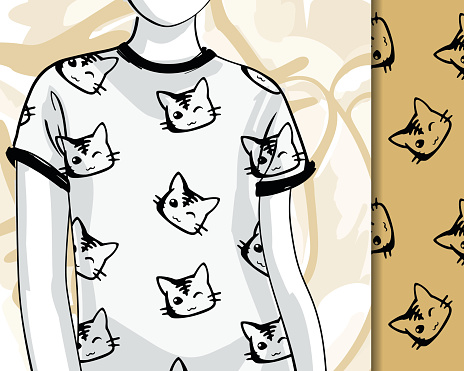 T-shirts with ink cats