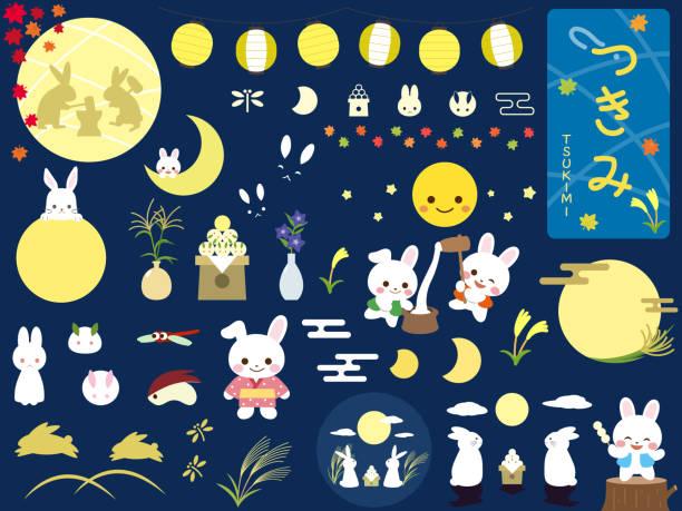illustrazioni stock, clip art, cartoni animati e icone di tendenza di tsukimi design2 - miscanthus sinensis