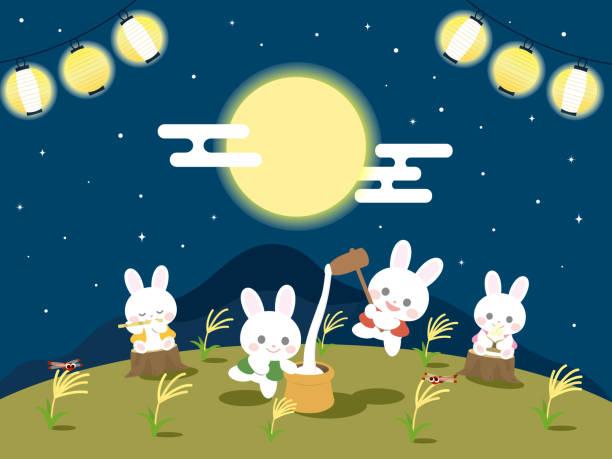 illustrazioni stock, clip art, cartoni animati e icone di tendenza di tsukimi illustration - miscanthus sinensis