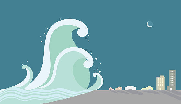 tsunami, attacking the city vector illustration - tidal wave stock illustrations, clip art, cartoons, & icons