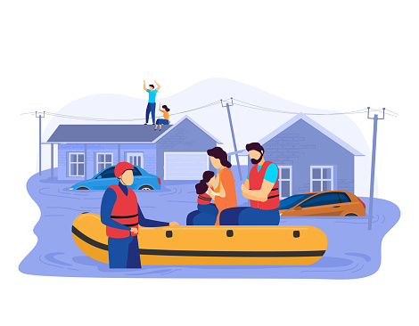 Tsunami consequences, rescue male female character evacuation save inflatable boat people victim flood isolated on white, cartoon vector illustration.