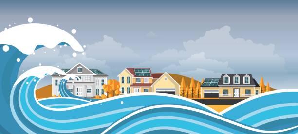 tsunami, flood disaster, vector illustration. overflooded landscape. eps 10 - ущерб окружающей среде stock illustrations