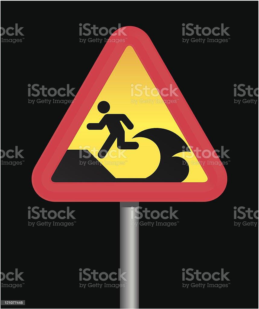 tsunami warning sign royalty-free stock vector art