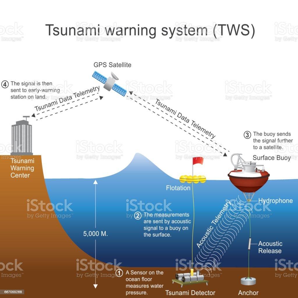 tsunami warning system vector graphic stock illustration